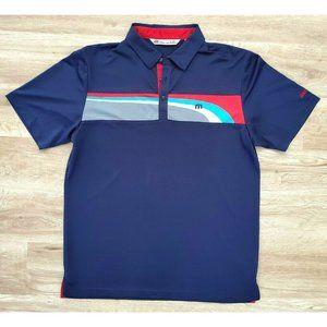 Travis Mathew Mens Navy Blue Golf Polo Shirt Large